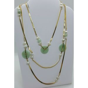 "14k Gold Green Jade Bi Disc & Pearl 32"" Necklace"